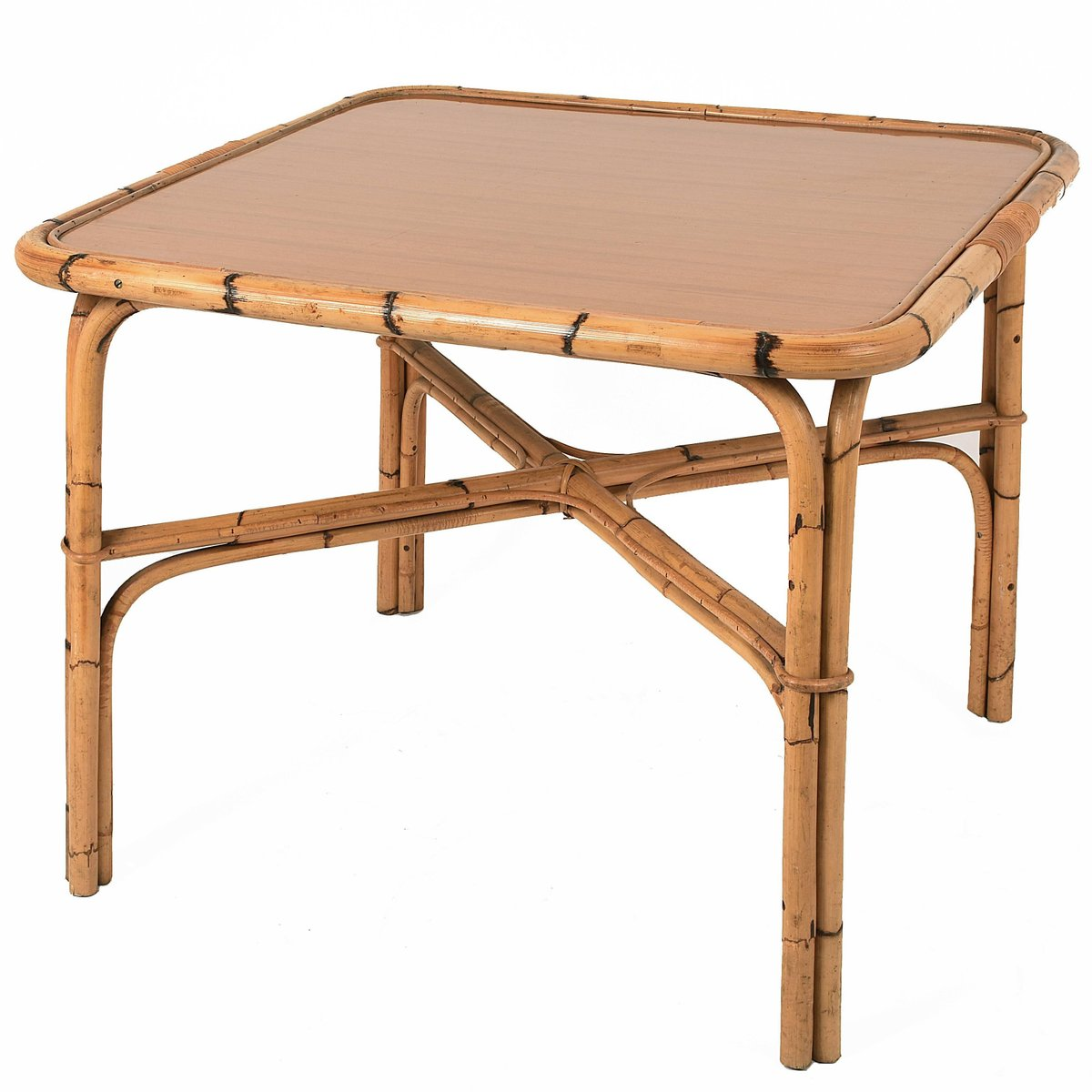 Bamboo Square Table: Italian Square Bamboo Table With Laminate Top, 1960s For
