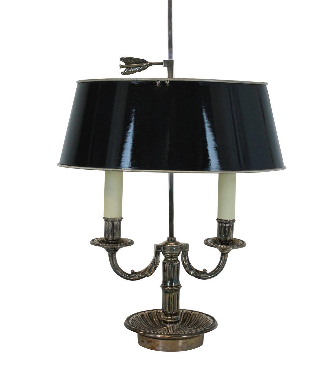 Versilberte französische Bouillotte Lampe, 1950er
