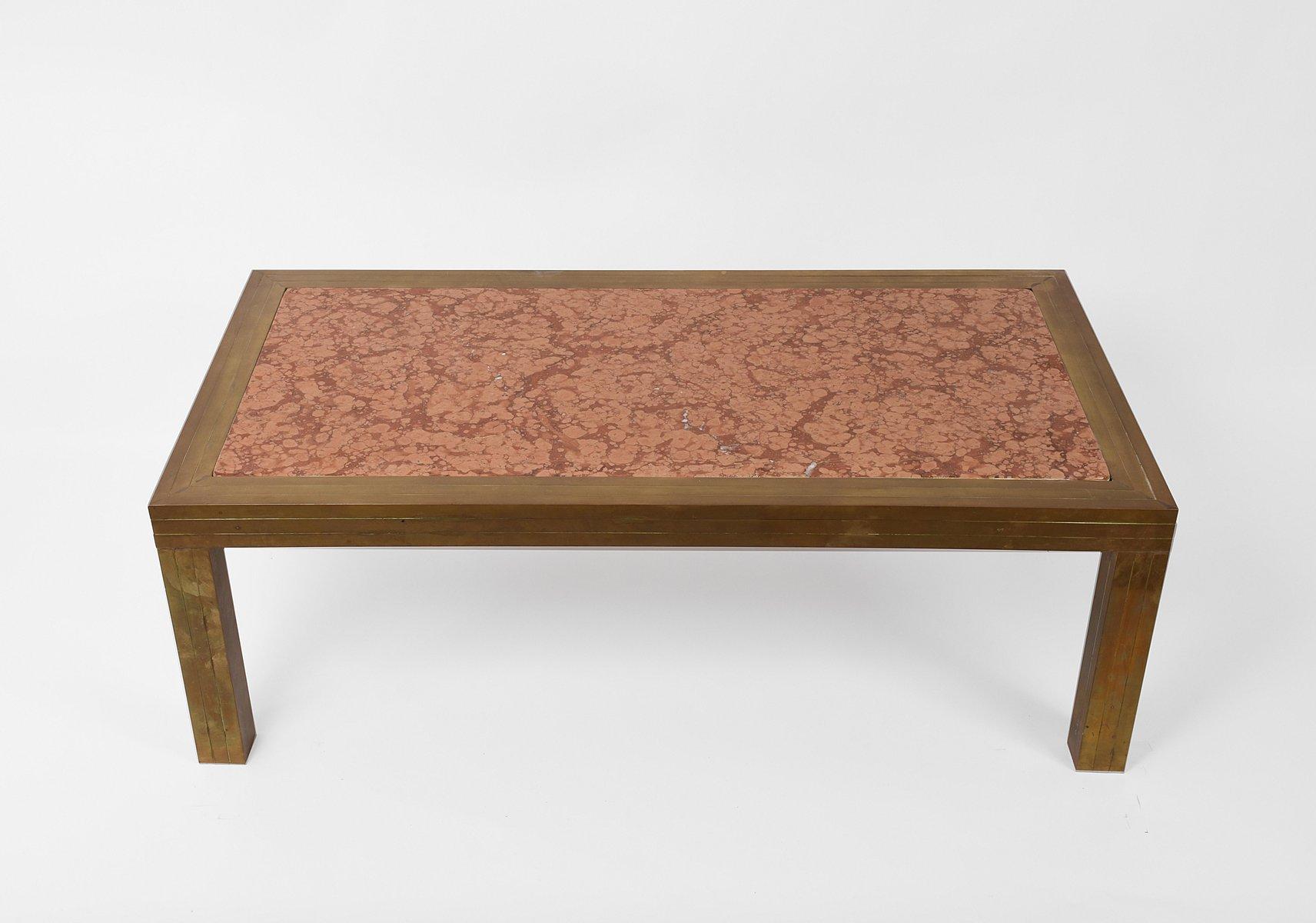 Moderner Mid-Century Couchtisch aus Messing & Marmor von Romeo Rega