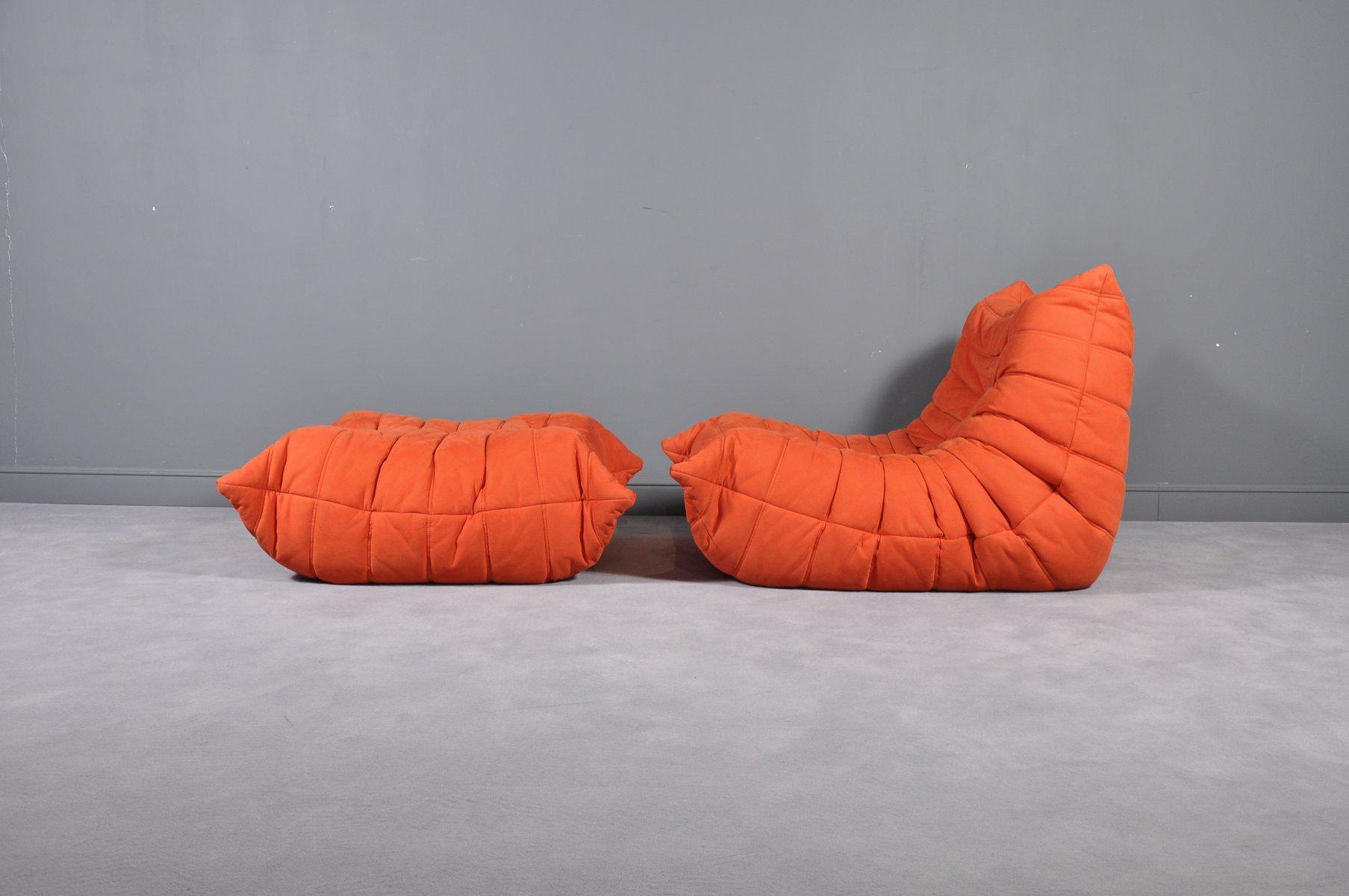 Modern Red Alcantara Togo Fireside Chair Amp Ottoman By