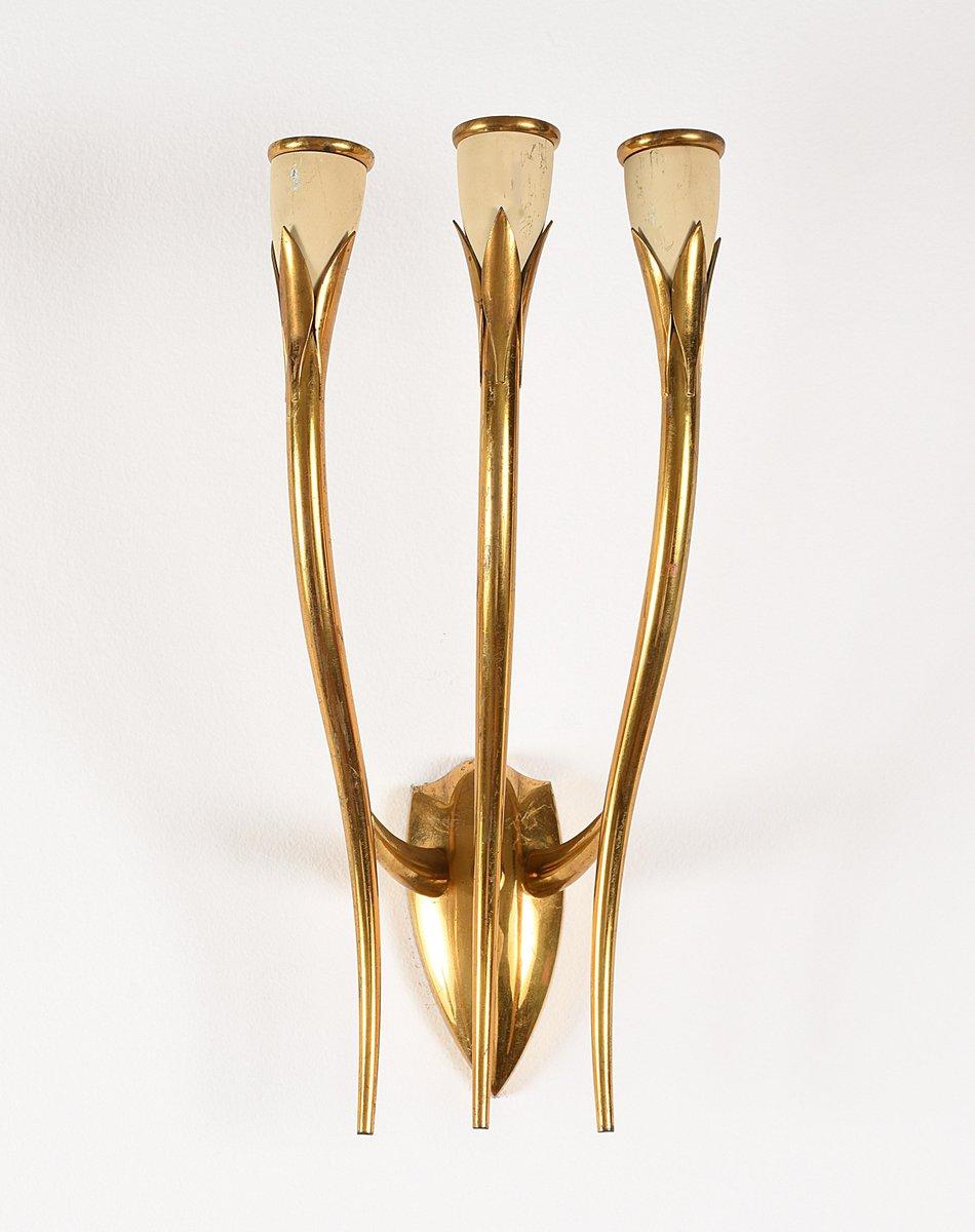 Italienische Wandaufhängung aus vergoldetem Messing mit 3 Leuchten von...