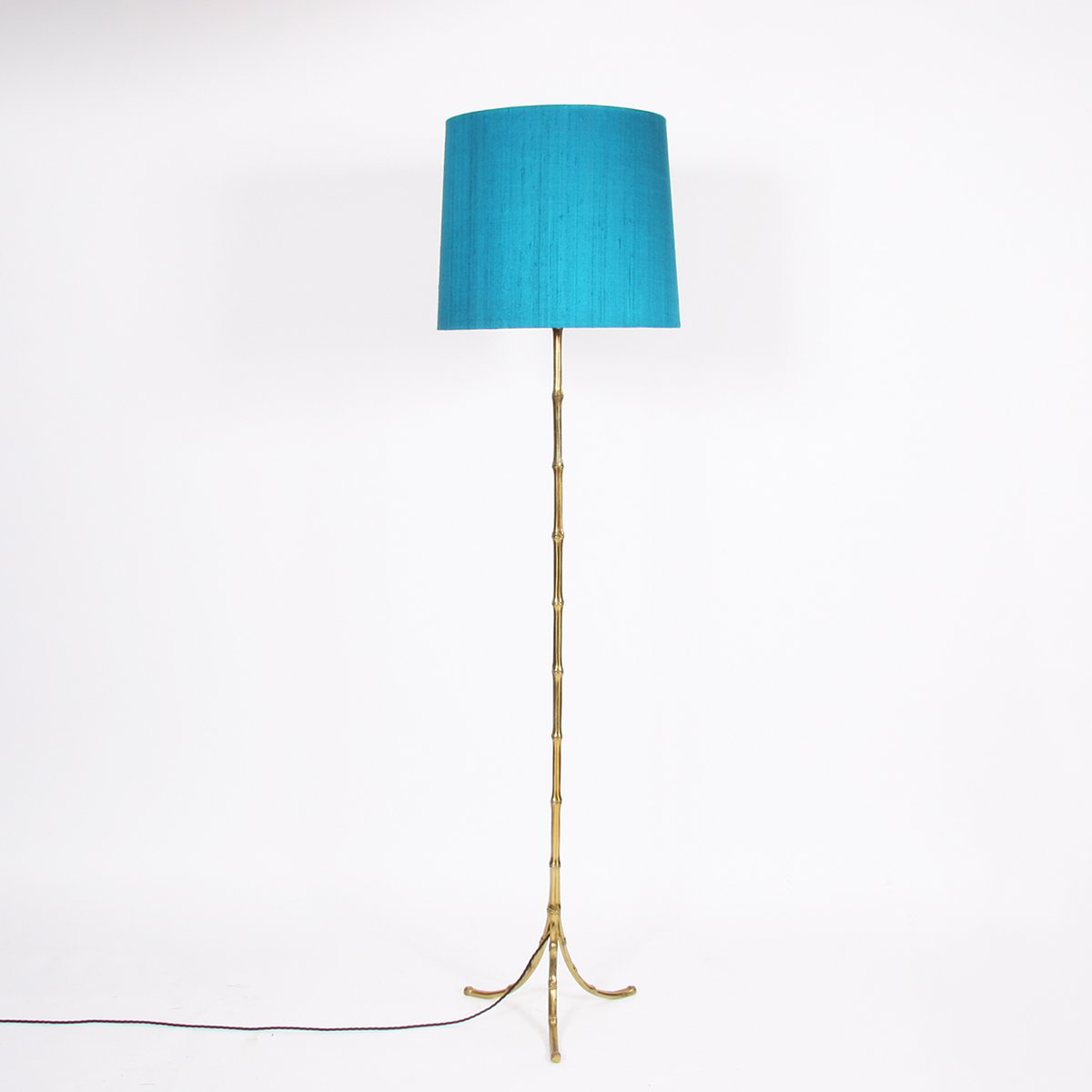 Vintage French Faux Bamboo Brass Floor Lamp, 1960s