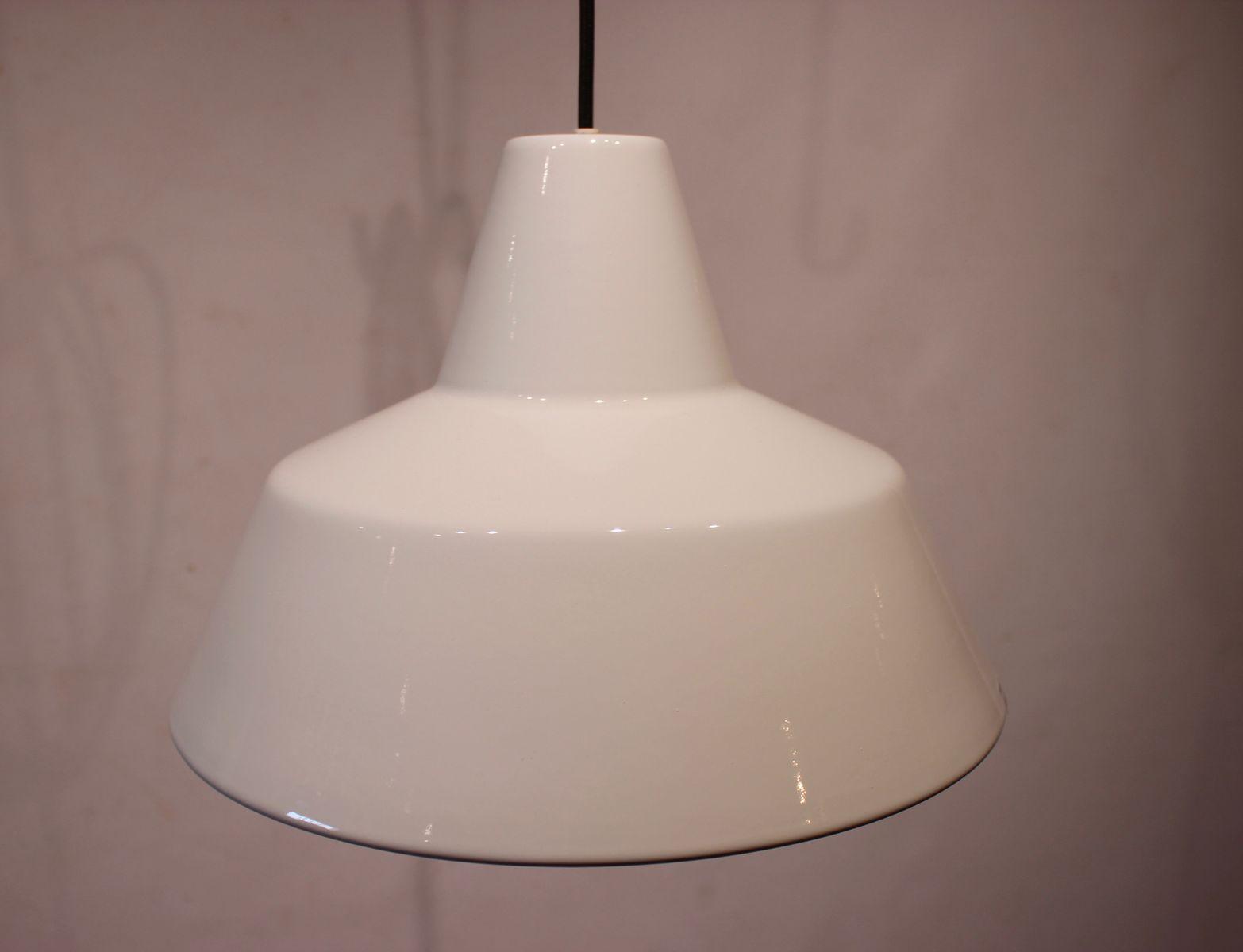 Weiße Werkstatt-Deckenlampen von Louis Poulsen, 1970er, 2er Set