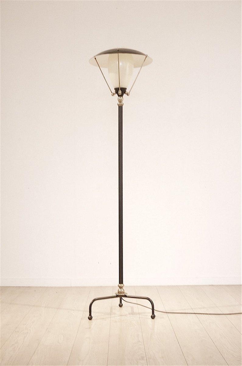 Dreibeinige belgische Stehlampe aus Messing, 1950er