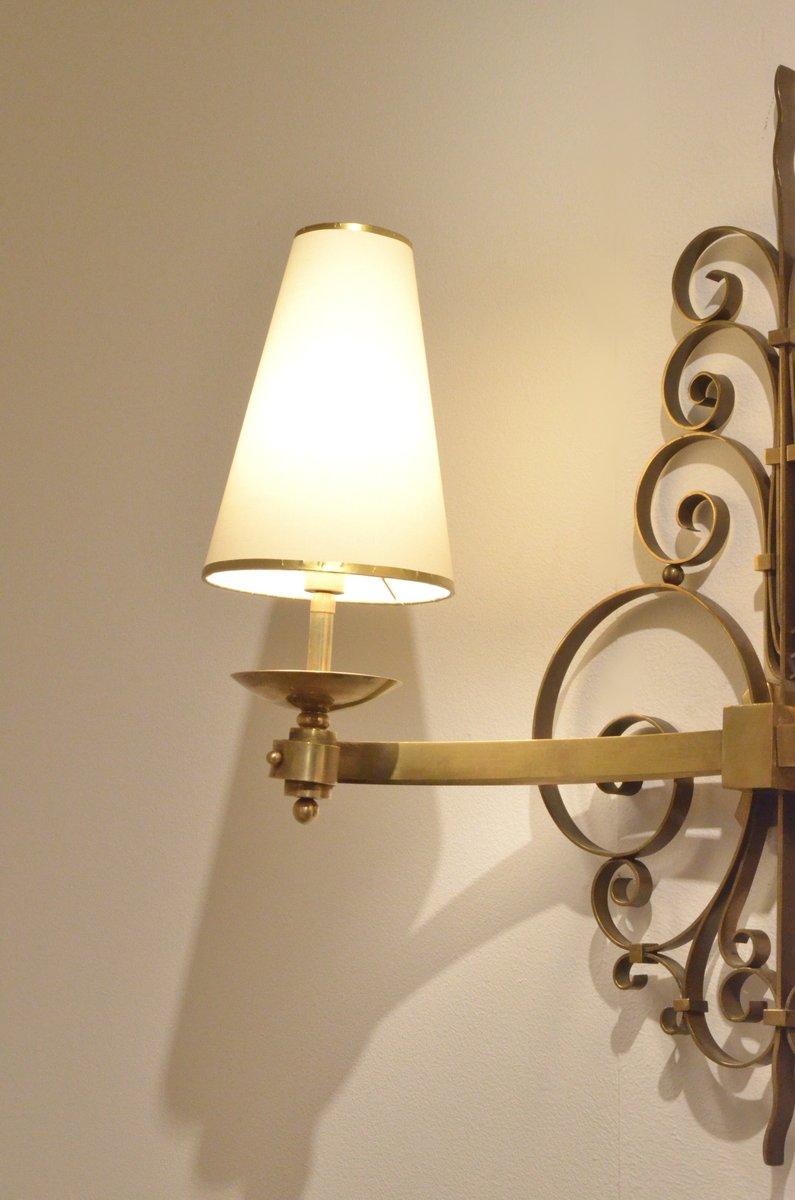 grande applique murale art d co en laiton france 1920s. Black Bedroom Furniture Sets. Home Design Ideas