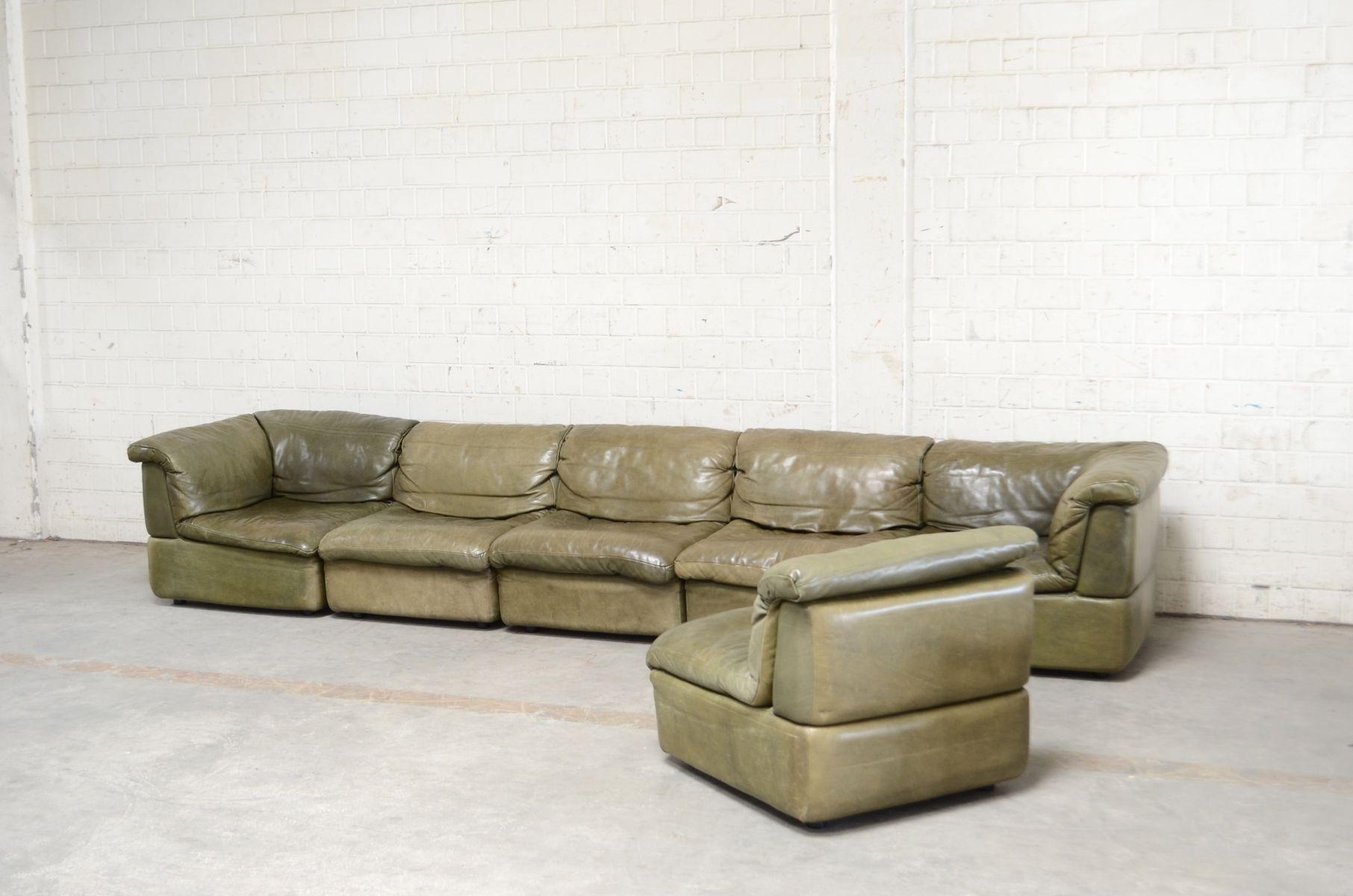 gr nes modulares vintage ledersofa von rolf benz 1970er. Black Bedroom Furniture Sets. Home Design Ideas
