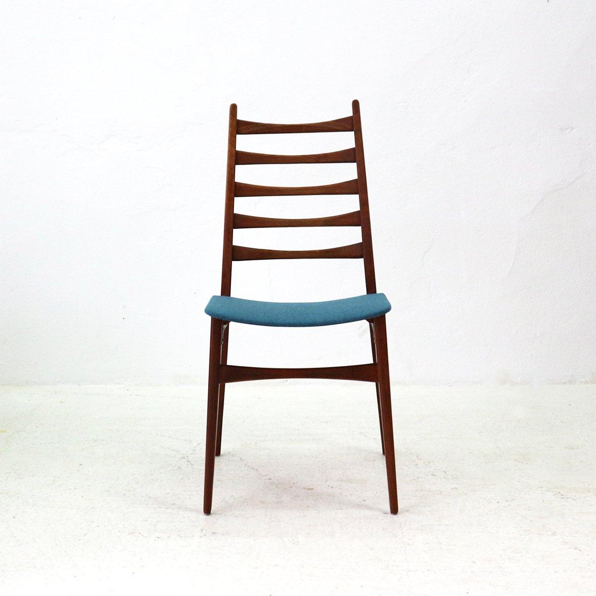 chaise en teck tapiss e bleu p trole 1960s en vente sur pamono. Black Bedroom Furniture Sets. Home Design Ideas