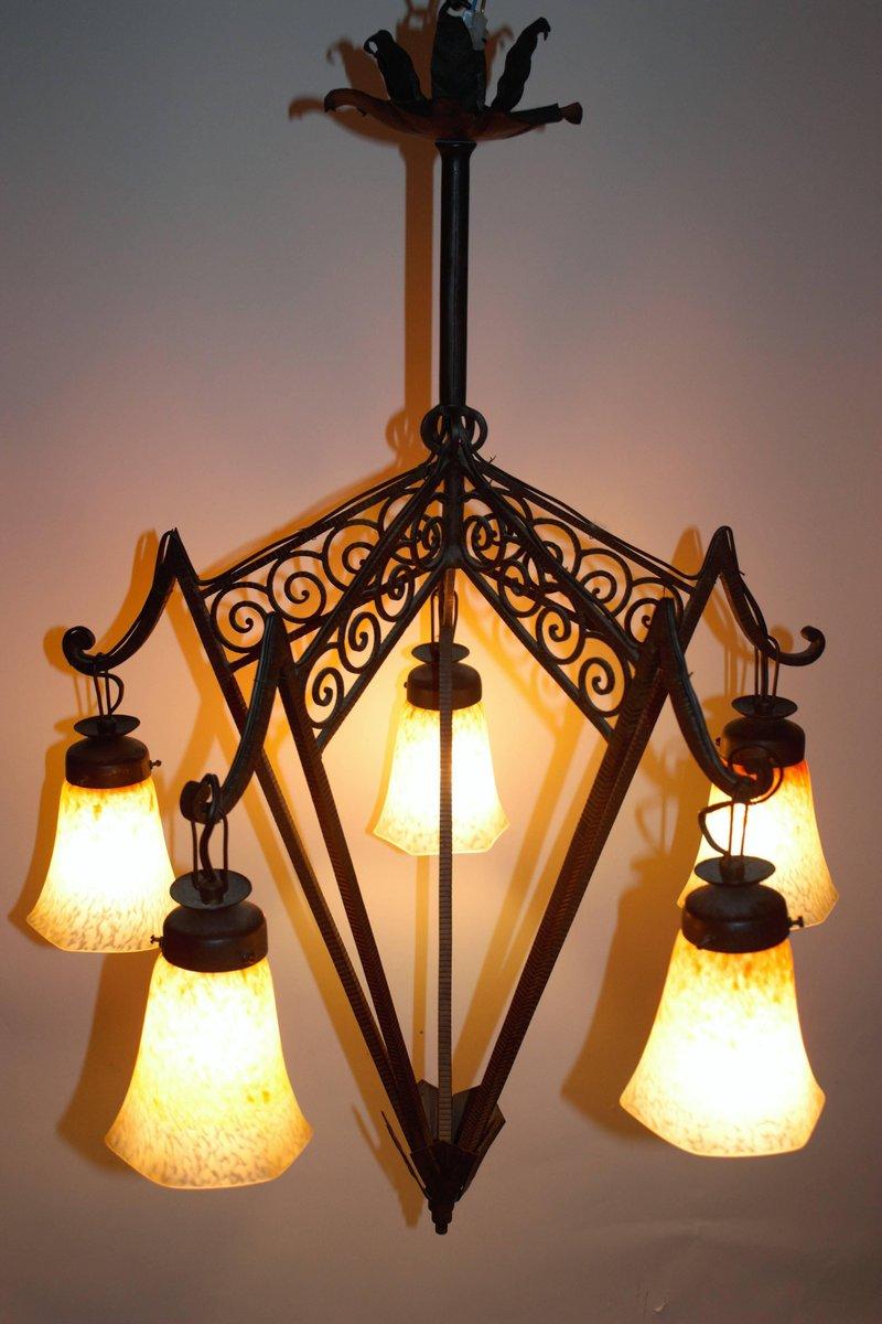 lustre art deco en fer forg et verre france 1920s en. Black Bedroom Furniture Sets. Home Design Ideas