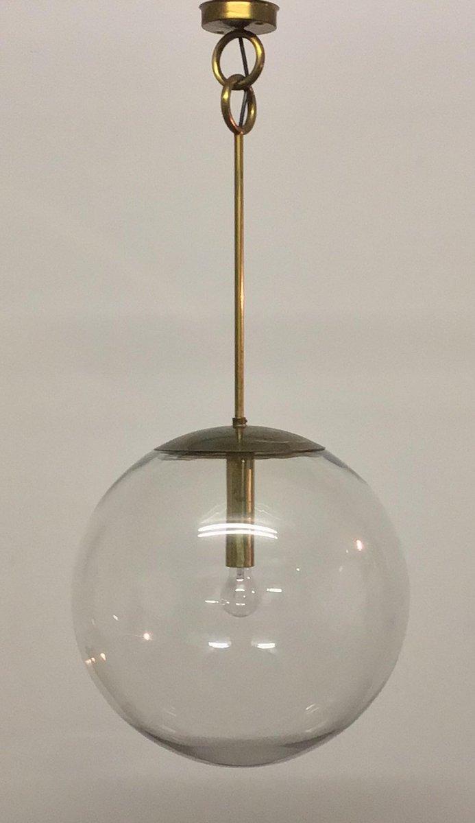 Große kugelförmige Mid-Century Hängelampen aus Glas, 1960er, 2er Set