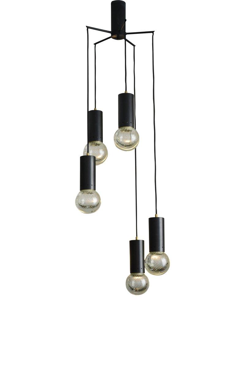 Vintage 5-Light Murano Glass Ceiling Lamp from Seguso