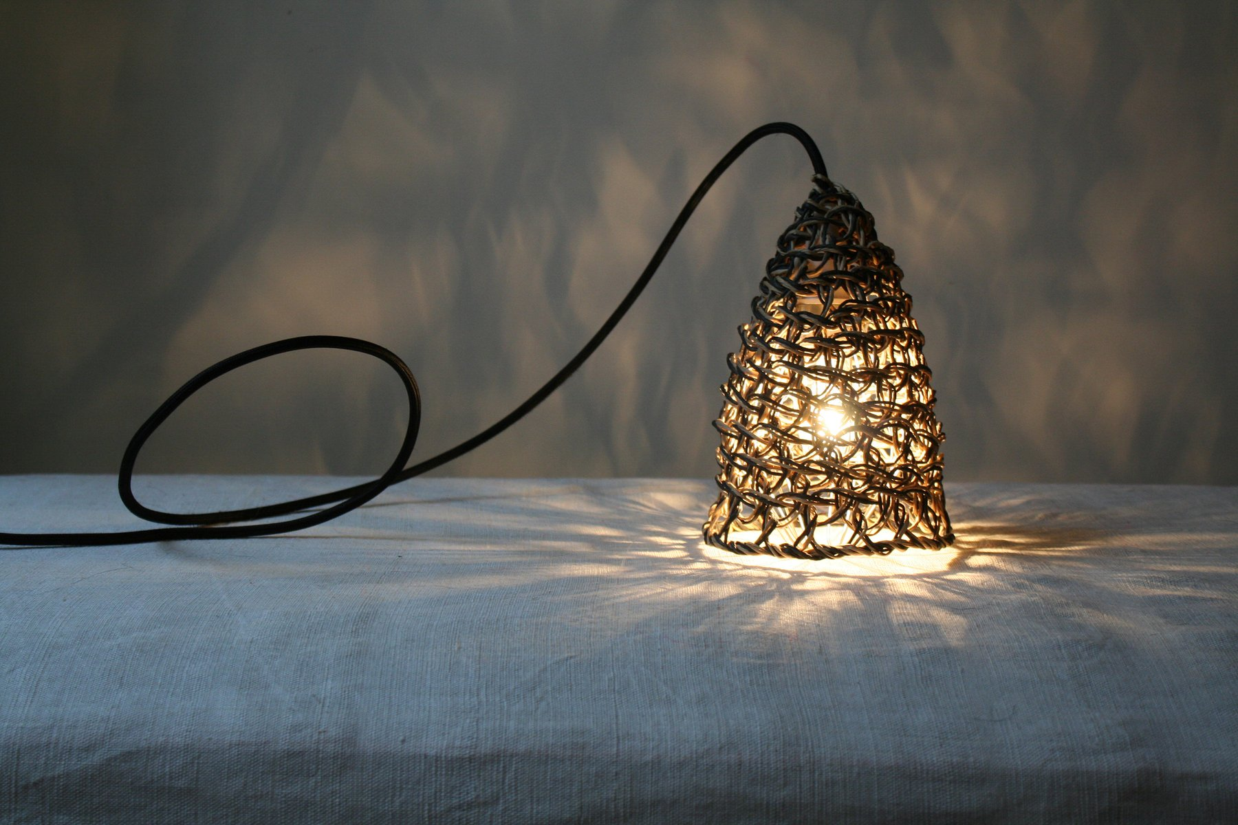 Black Double Threaded Baladeuse Table Lamp by BEST BEFORE