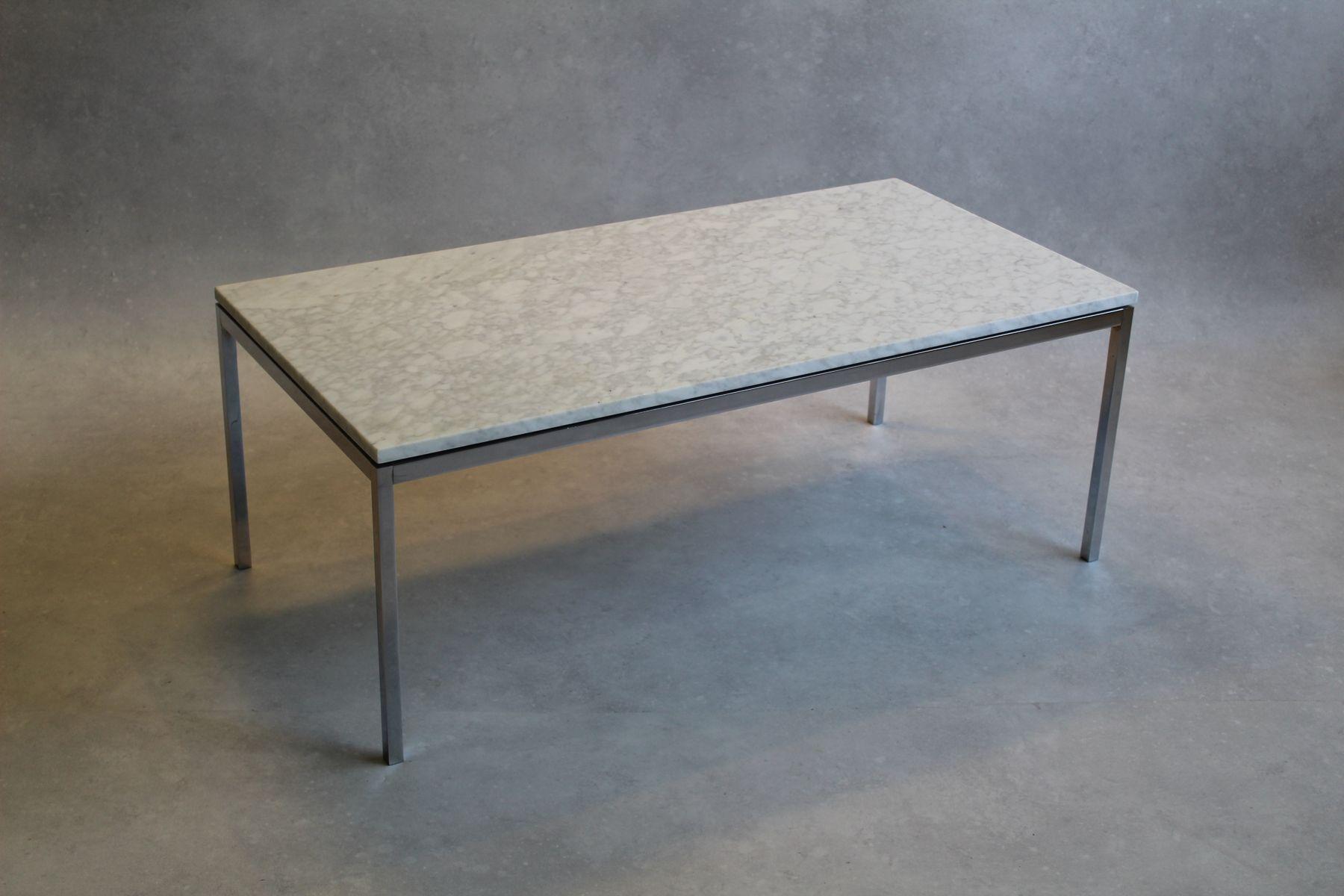 table basse vintage en marbre et chrome par florence knoll. Black Bedroom Furniture Sets. Home Design Ideas