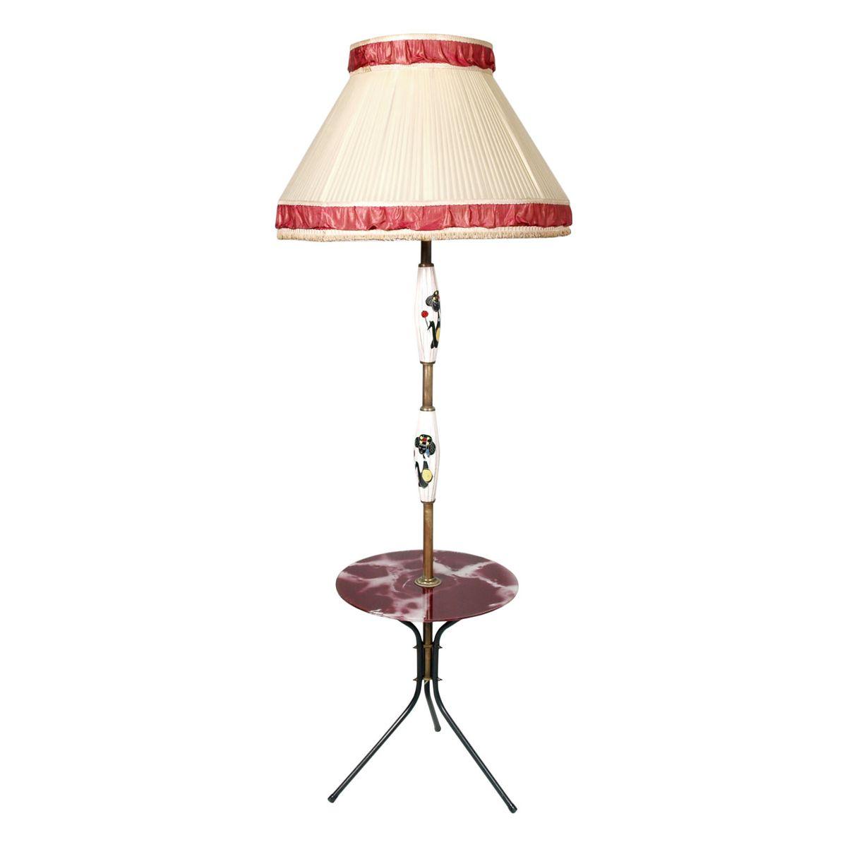 Dreibeinige Mid-Century Modern Stehlampe mit Couchtisch