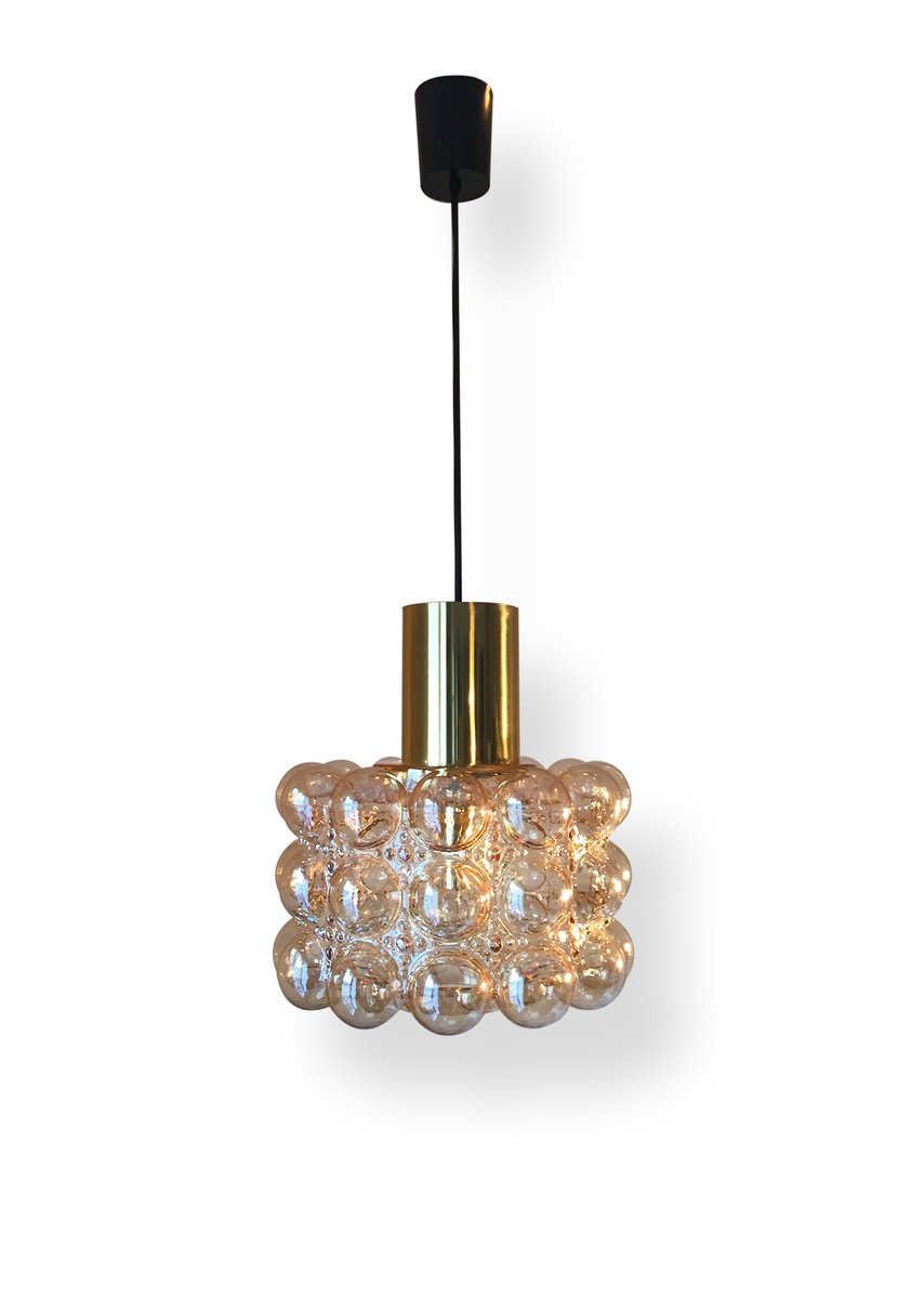 Vintage Brass & Bubble Glass Ceiling Lamp by Helena Tynell for Limburg...