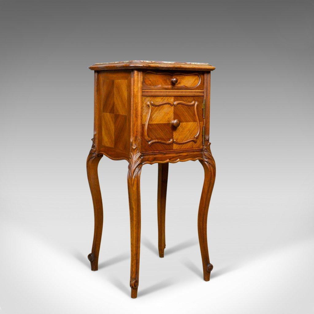 Französischer antiker Nachttisch aus Walnuss & Marmor, 1890er