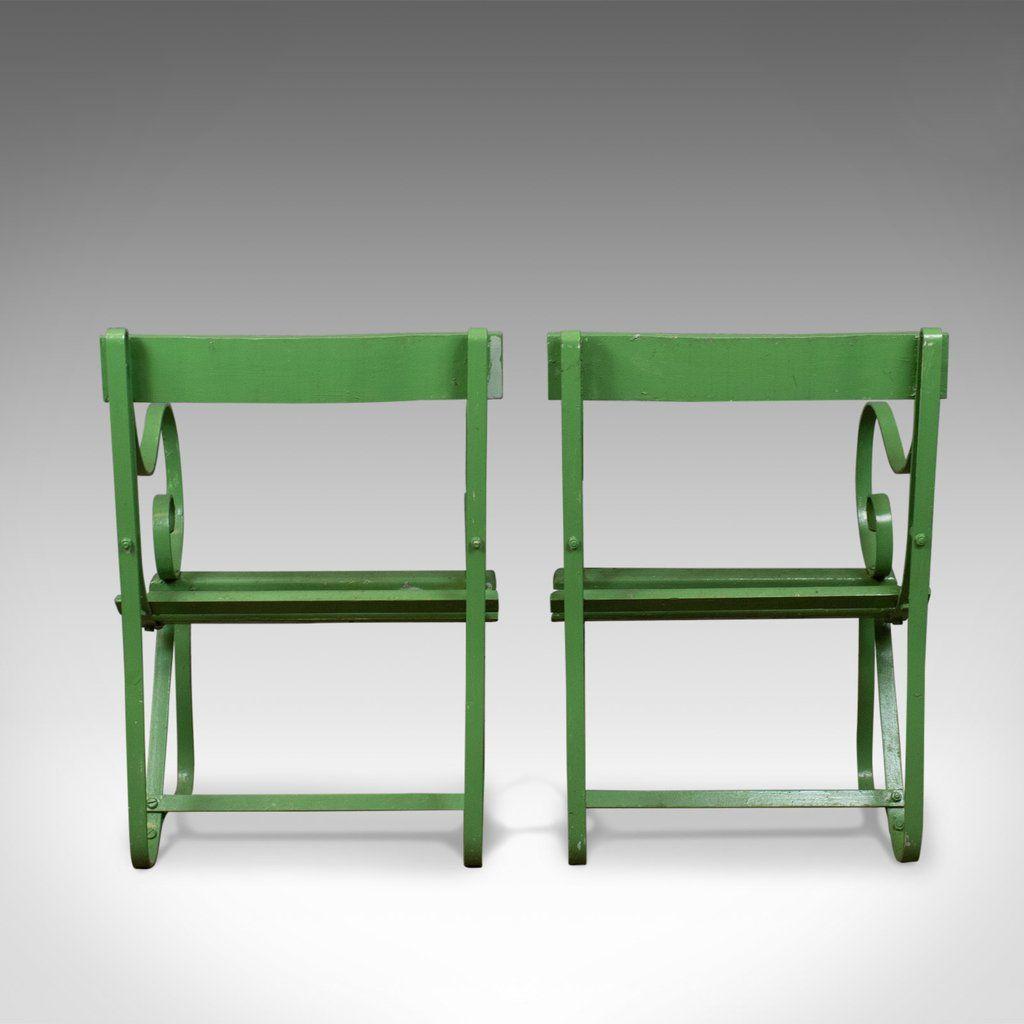 Chaises de jardin antiques en fer peint vert set de 2 en - Chaises de jardin en fer ...