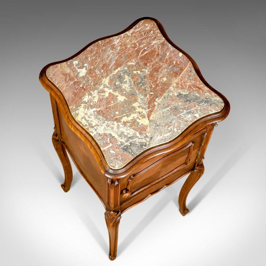 meuble de chevet antique en noyer marbre france 1890s. Black Bedroom Furniture Sets. Home Design Ideas