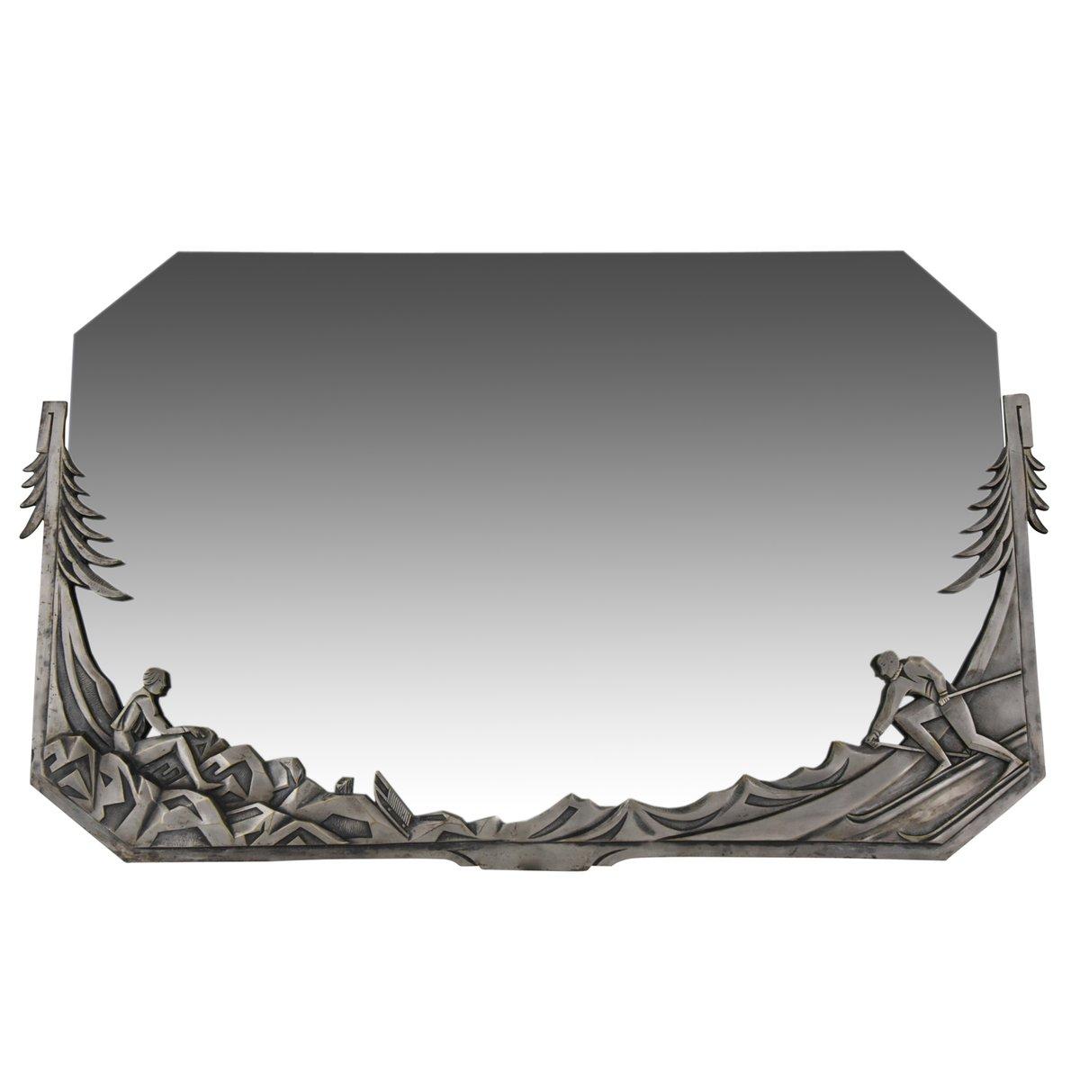 miroir art deco en bronze argent france 1920s en vente. Black Bedroom Furniture Sets. Home Design Ideas