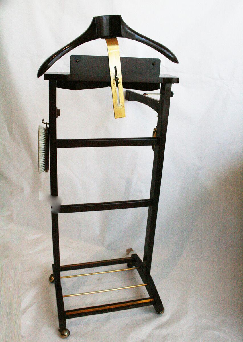 stummer diener aus holz messing mit schubladen 1980er. Black Bedroom Furniture Sets. Home Design Ideas