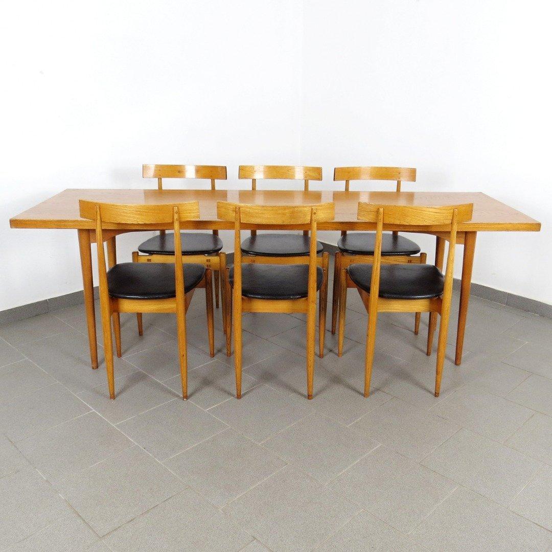 set mit esstisch 6 st hlen 1960er bei pamono kaufen. Black Bedroom Furniture Sets. Home Design Ideas