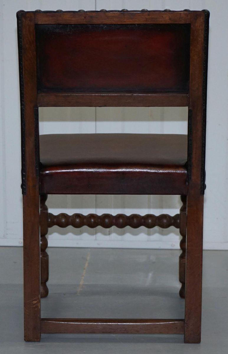 esszimmerst hle aus braunem leder massiver eiche 1900er. Black Bedroom Furniture Sets. Home Design Ideas