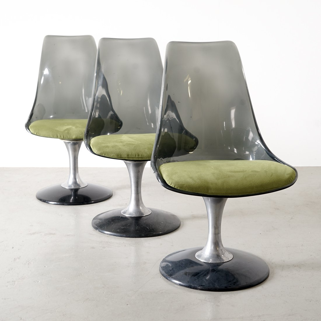 set de table de salle manger ronde en verre fum et 4 chaises vintage de chromecraft 1970s. Black Bedroom Furniture Sets. Home Design Ideas