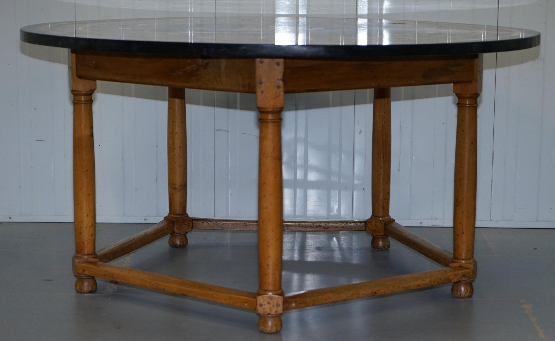 Large Antique Pietra Dura Marble Dining Table