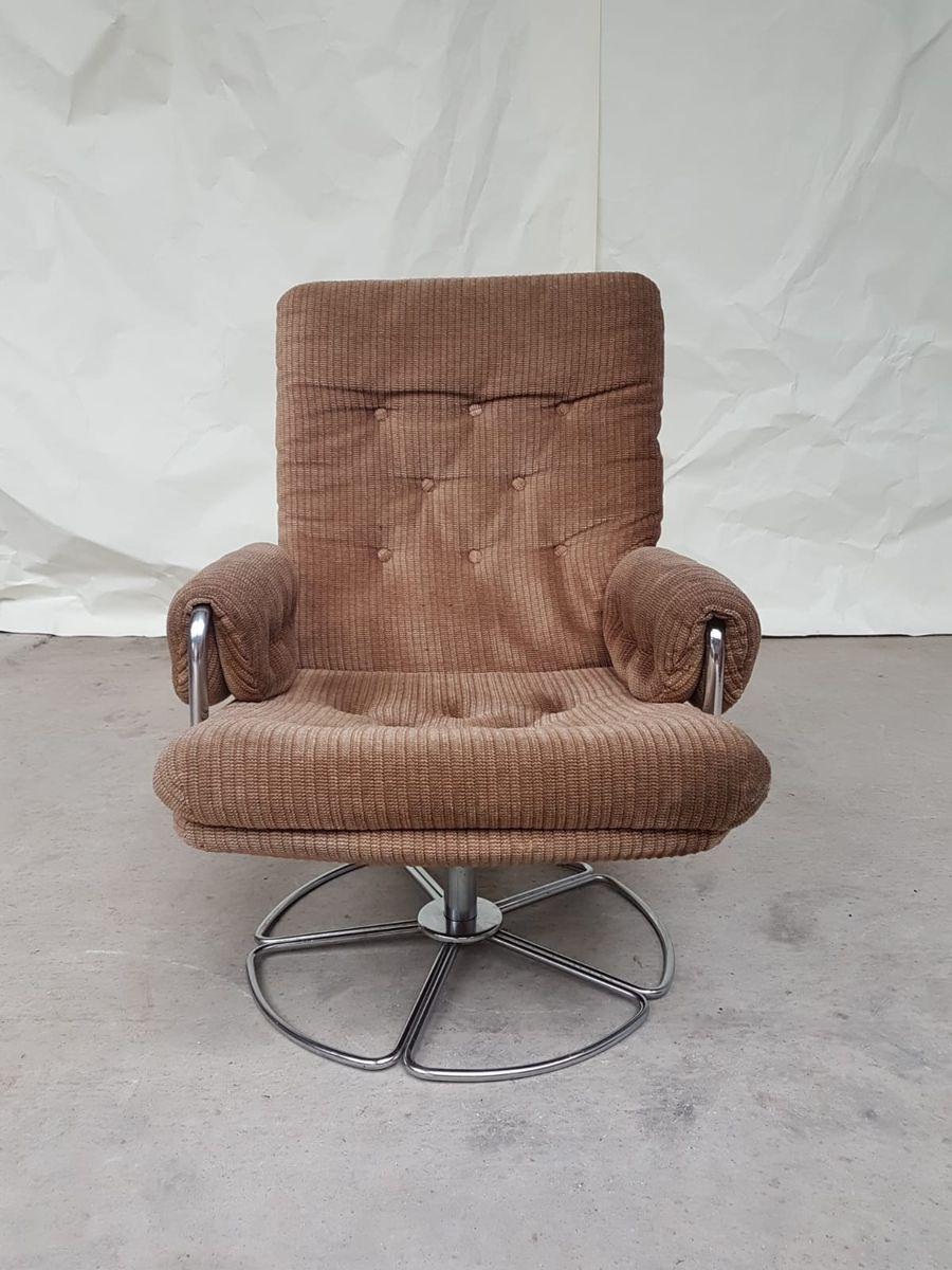 Mid-Century Chrome Swivel Armchair, 1970s