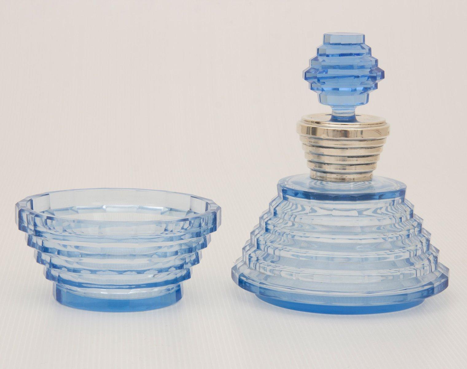 bouteille parfum coupe poudr e bleue art d co en verre taill par fran ois koozi 1930s en. Black Bedroom Furniture Sets. Home Design Ideas
