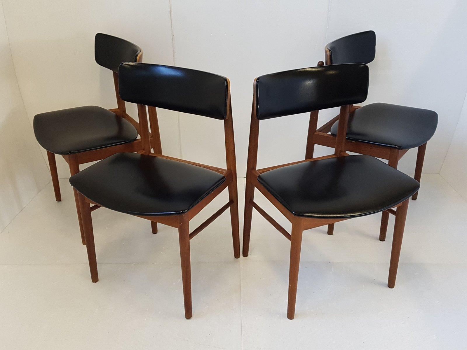 esszimmerst hle mit gestell aus teak sitz aus leder von. Black Bedroom Furniture Sets. Home Design Ideas
