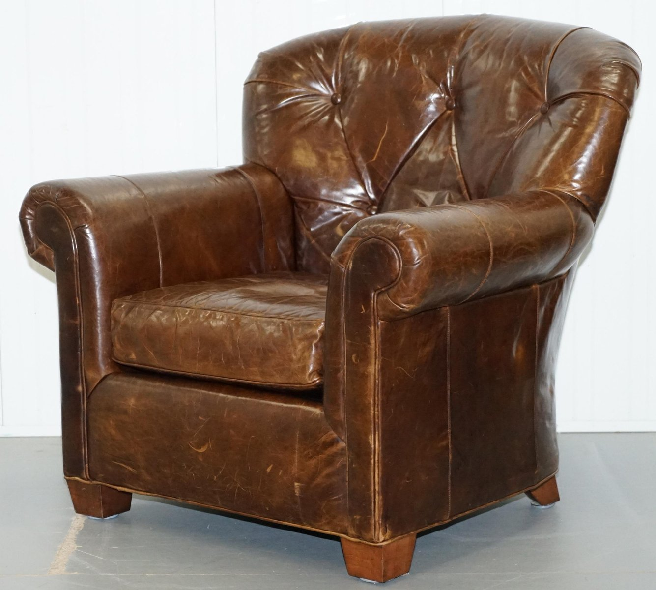 Fabulous Large Brown Leather Club Chair From Ralph Lauren 1980S Ibusinesslaw Wood Chair Design Ideas Ibusinesslaworg