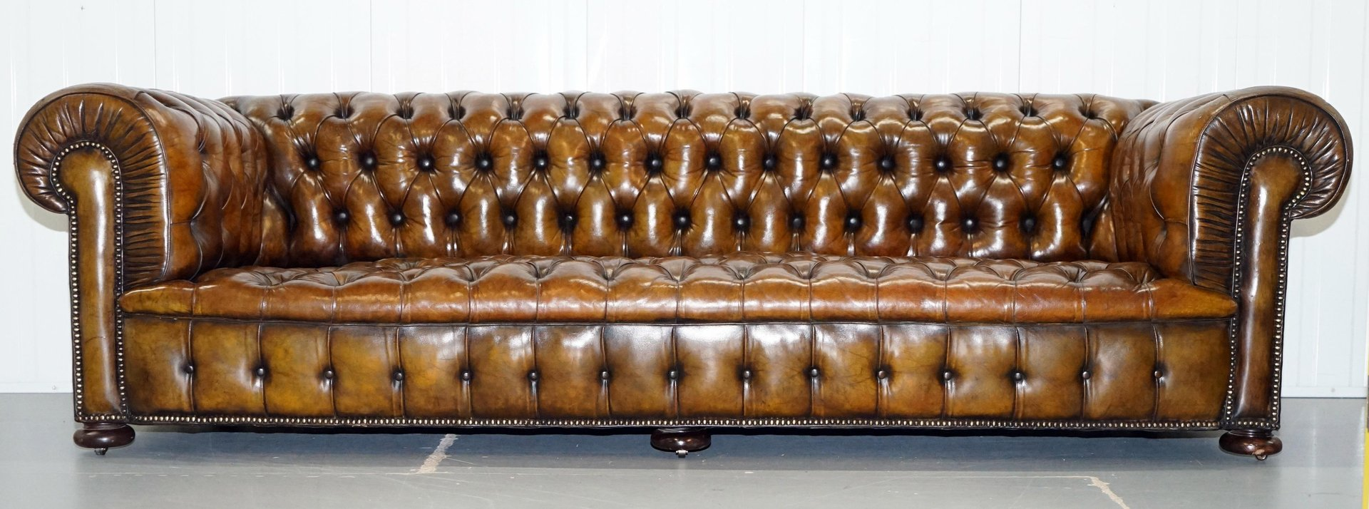 Antique Victorian Brown Leather Chesterfield Sofa