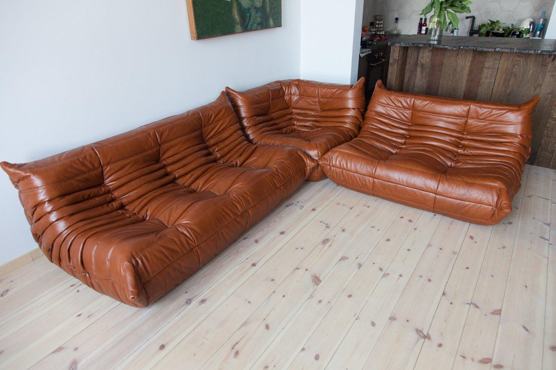 whiskey leather togo living room set by michel ducaroy for. Black Bedroom Furniture Sets. Home Design Ideas