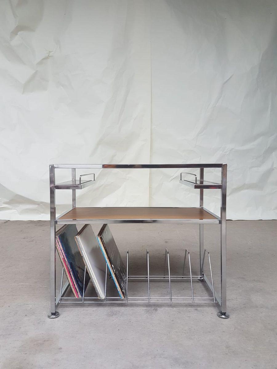 meuble de rangement mid century en vinyle et chrome en. Black Bedroom Furniture Sets. Home Design Ideas