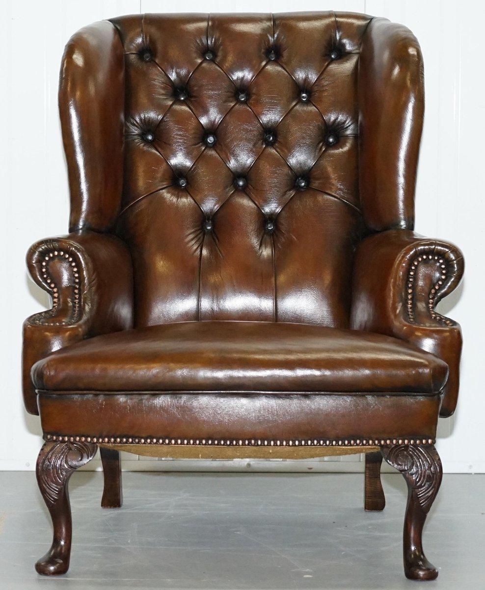 Admirable Cigar Brown Leather Chesterfield Wingback Armchairs 1930S Set Of 2 Creativecarmelina Interior Chair Design Creativecarmelinacom