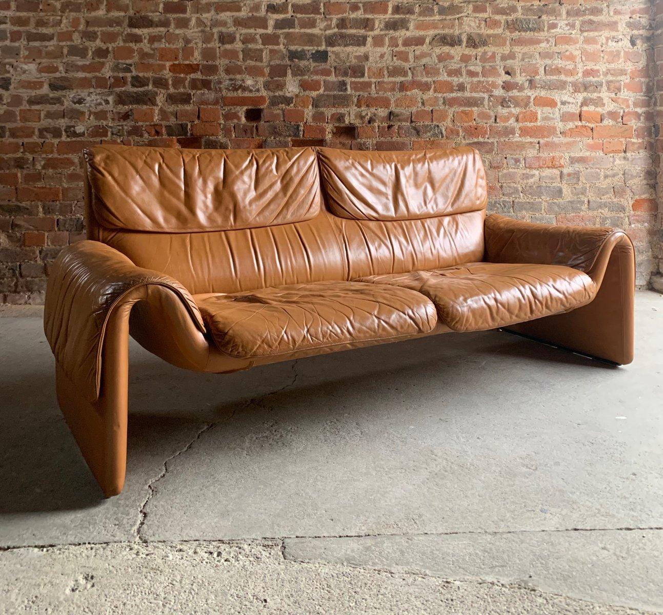 canap ds2011 en cuir cognac de de sede 1980s en vente. Black Bedroom Furniture Sets. Home Design Ideas