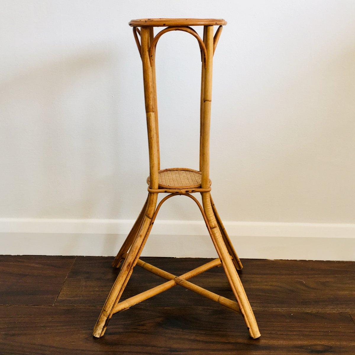 table d 39 appoint ou support pour plante vintage en bambou. Black Bedroom Furniture Sets. Home Design Ideas