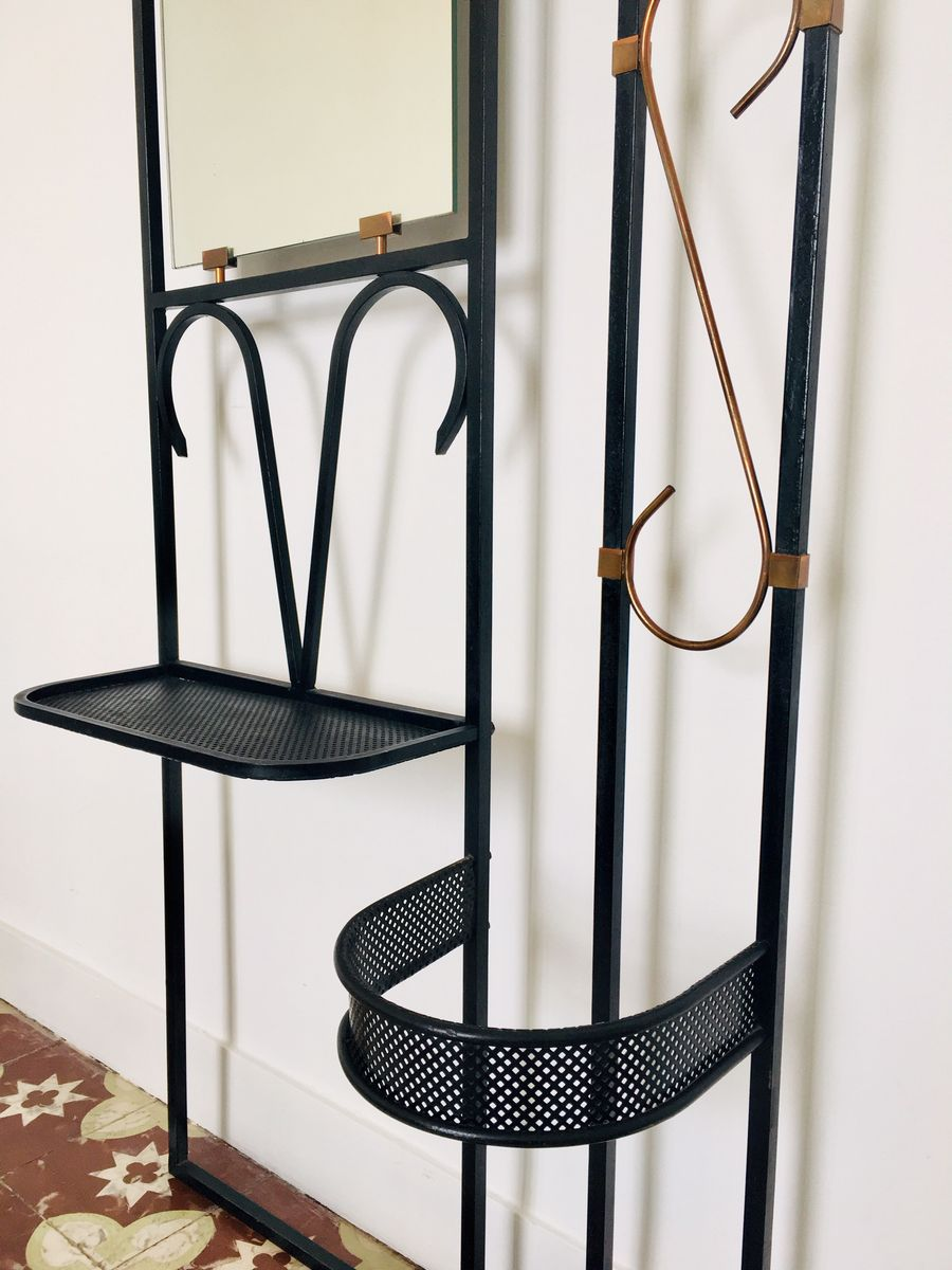 schwarz lackierte garderobe aus metall messing 1950er. Black Bedroom Furniture Sets. Home Design Ideas