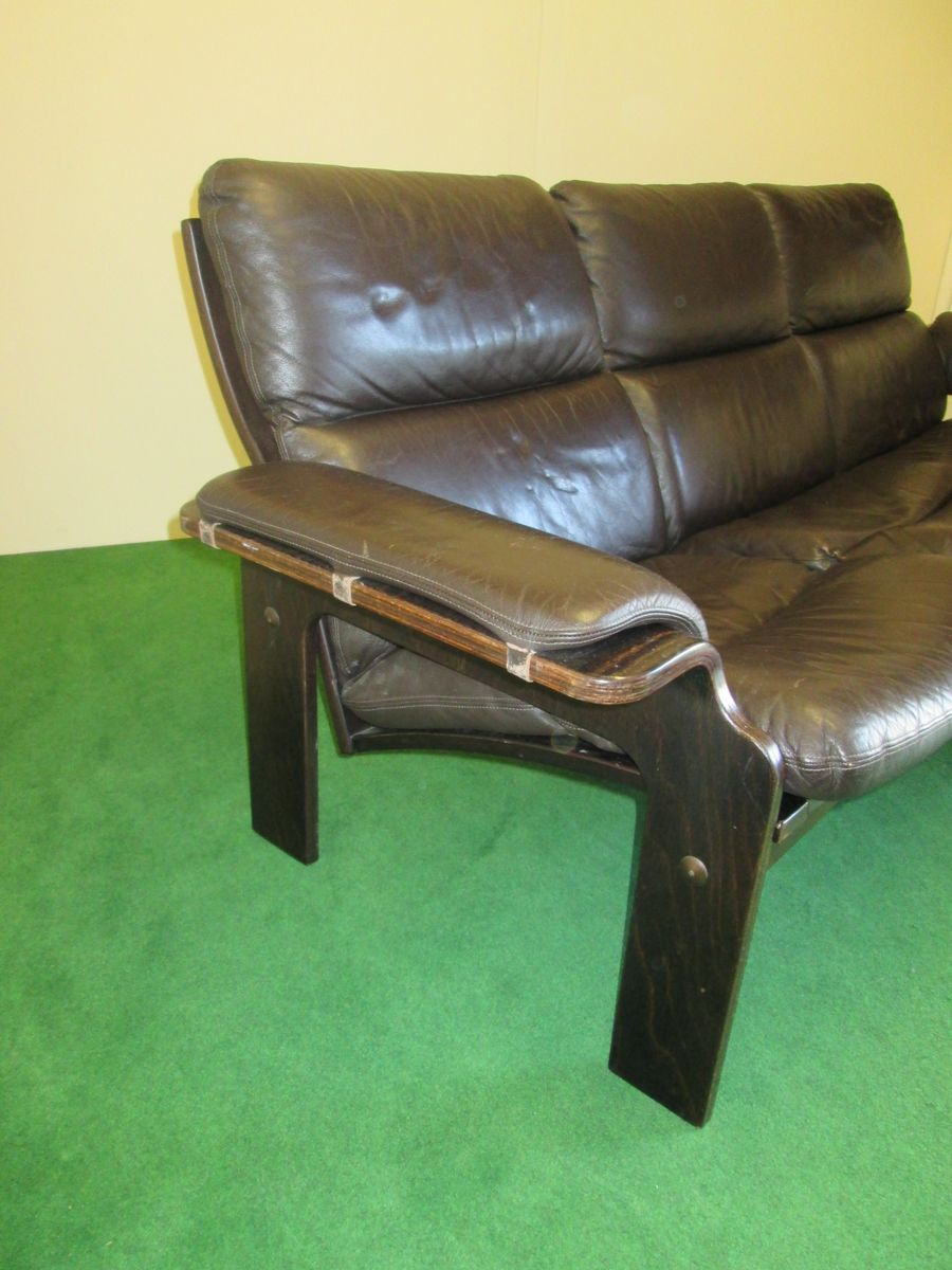 canap scandinave en cuir de jeki 1970s en vente sur pamono. Black Bedroom Furniture Sets. Home Design Ideas