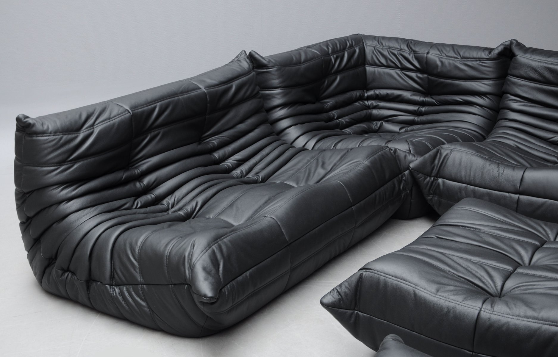 Vintage Black Leather Togo Sofa Set By Michel Ducaroy For Ligne Roset 8 423 00 Price Per