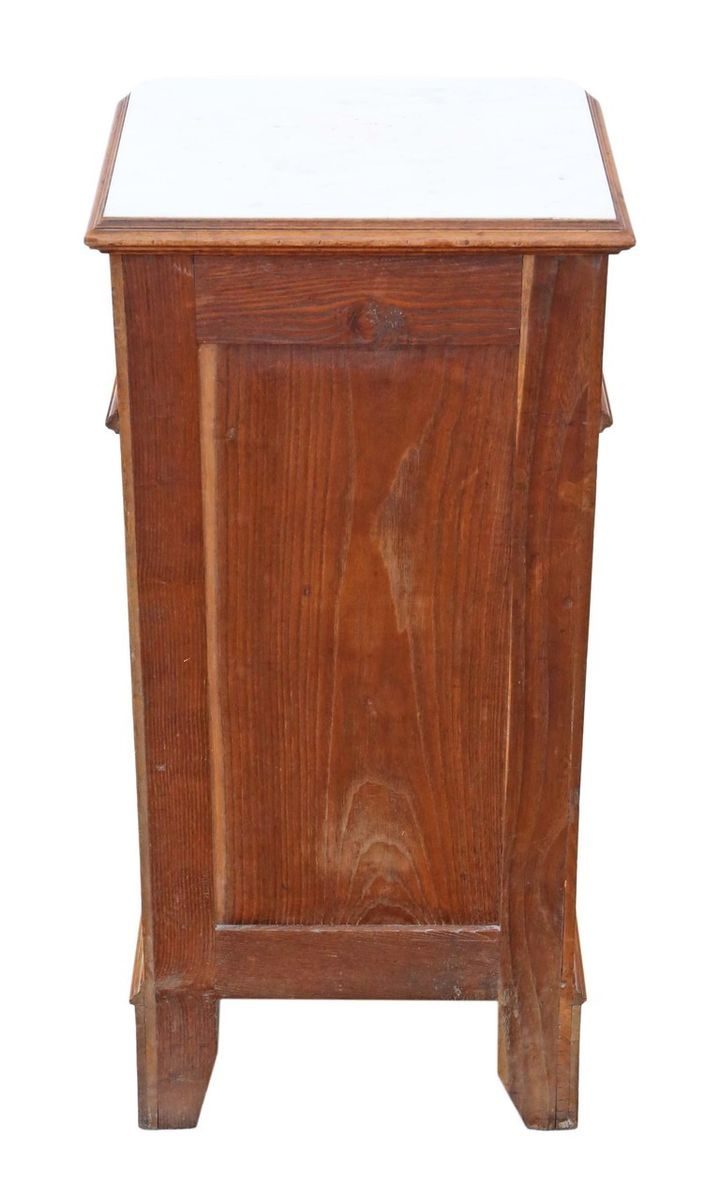 Old Bedside Table: Antique French Walnut & Marble Bedside Table For Sale At