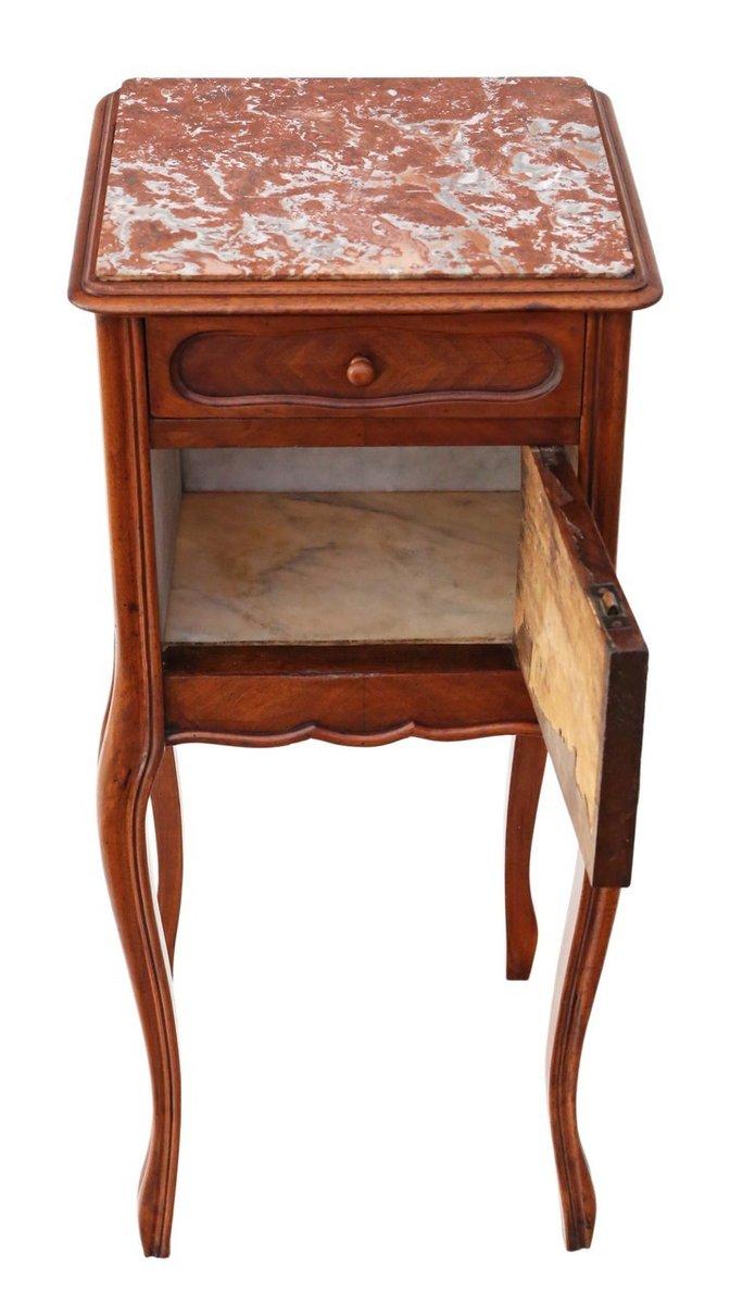 table de chevet en noyer et marbre france 1920s en vente sur pamono. Black Bedroom Furniture Sets. Home Design Ideas