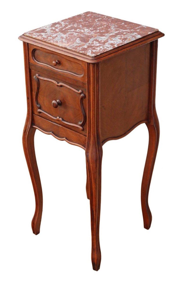 table de chevet en noyer et marbre france 1920s en vente. Black Bedroom Furniture Sets. Home Design Ideas