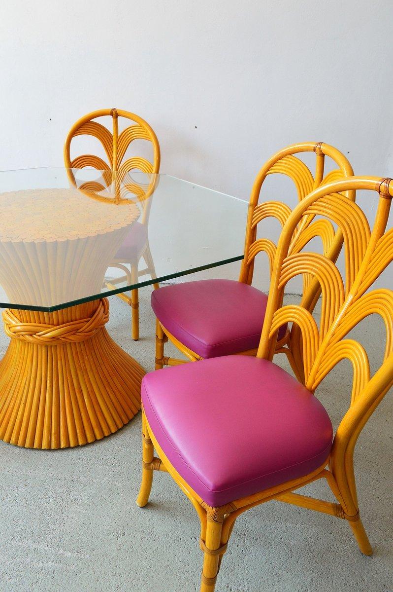 set aus tisch mit vier st hlen mit gestell aus bambus von. Black Bedroom Furniture Sets. Home Design Ideas