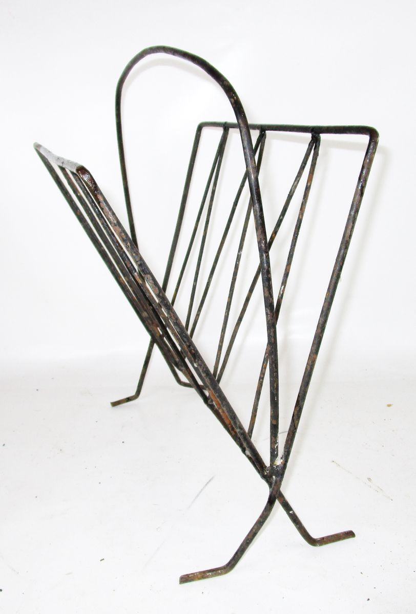 Mid Century Iron Patio Chairs: Mid-Century French Wrought Iron Magazine Rack For Sale At