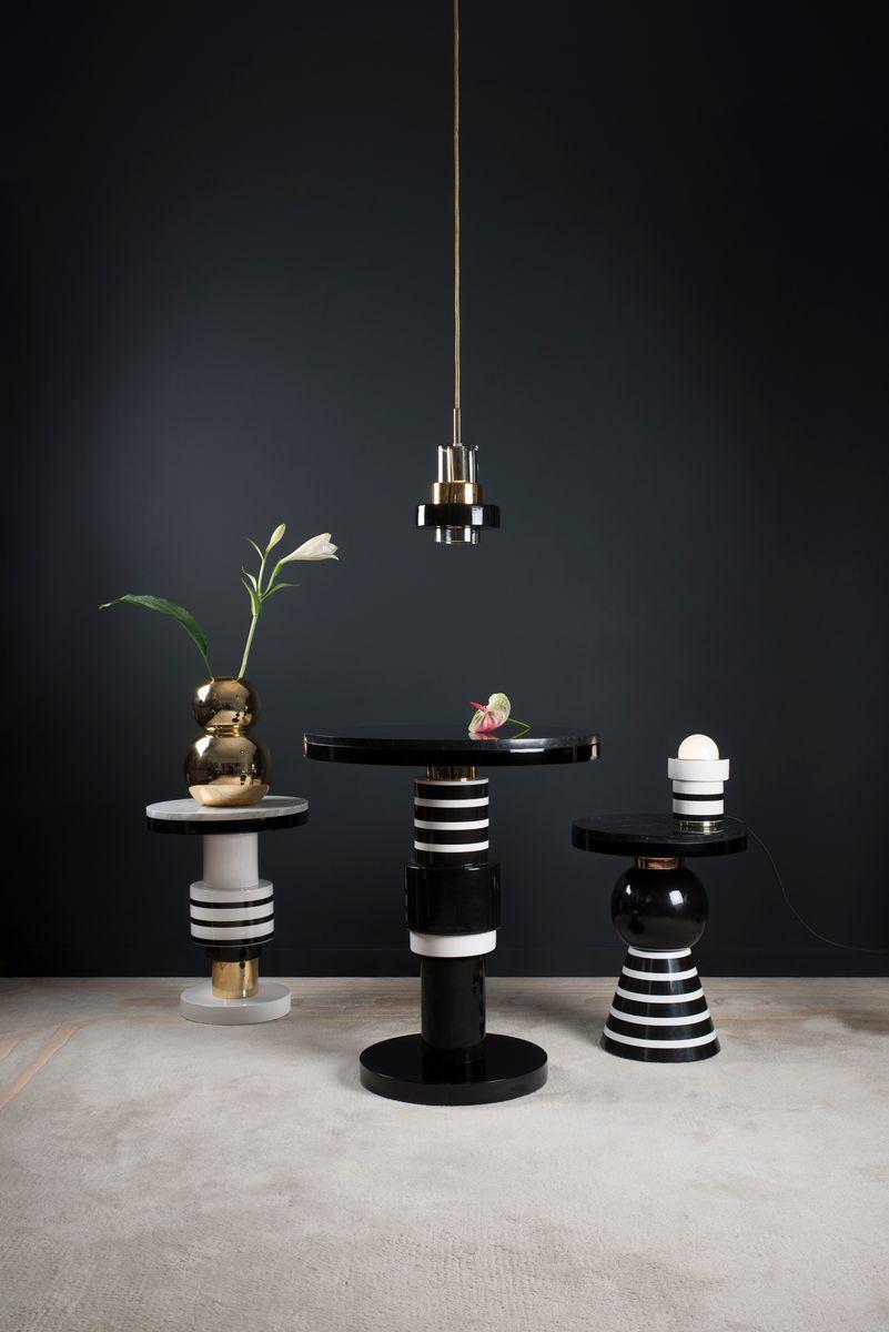table d 39 appoint chimalis variation 4 avec bande dor e et plateau blanc de casalto en vente sur. Black Bedroom Furniture Sets. Home Design Ideas