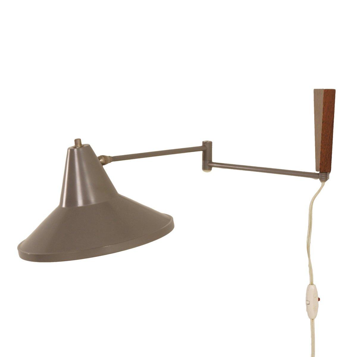 Graue Wandlampe von Louis Kalff für Philips, 1950er