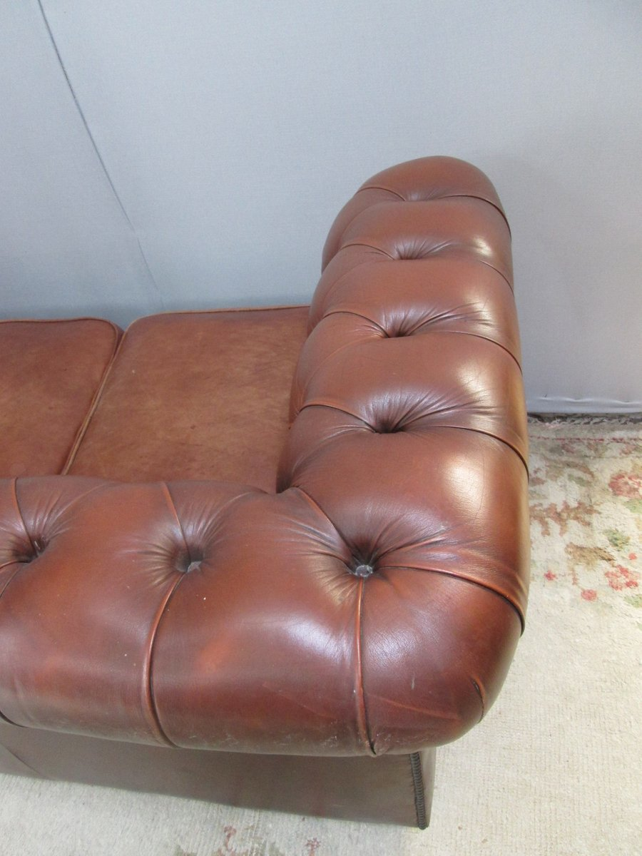 Vintage Brown Leather Chesterfield Sofa 1980s For Sale At