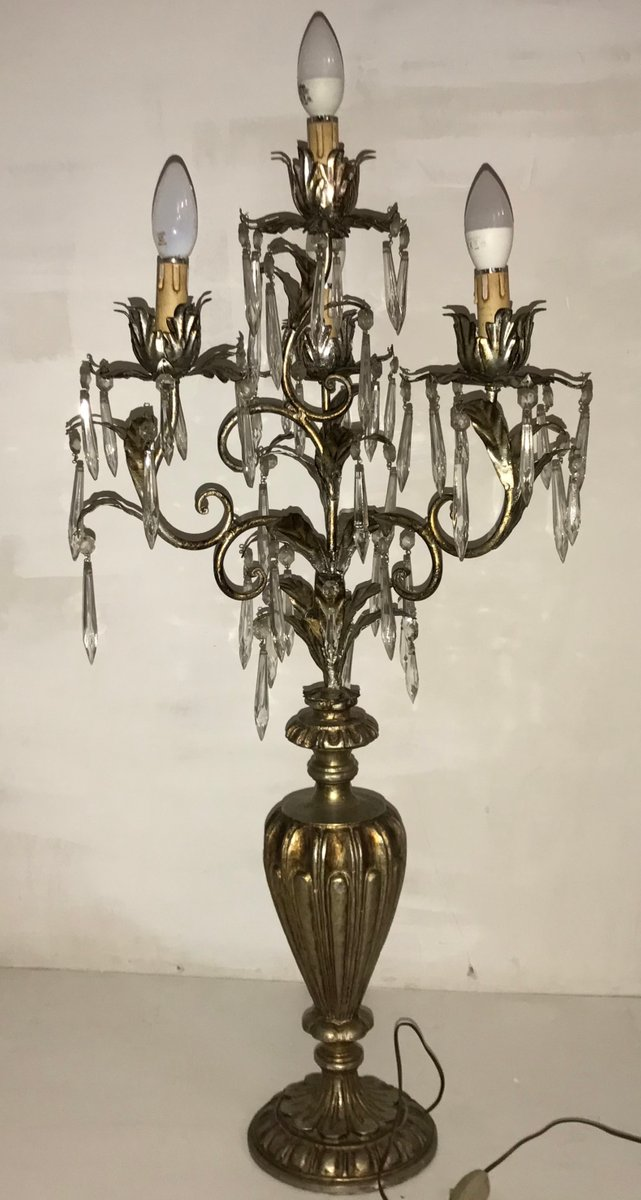 Lampada Da Tavolo Candelabro Vintage In Cristallo In Vendita Su Pamono