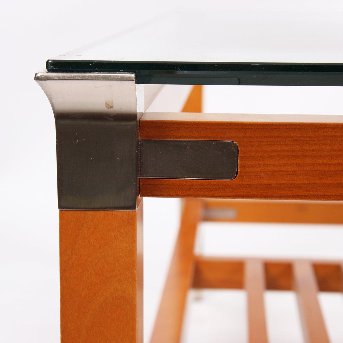 grande table basse carr e en bois et acier par pierre. Black Bedroom Furniture Sets. Home Design Ideas